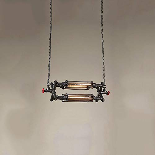 Xiao Fan ▶ * Loft Kreative Vier Kopf Eisen Vorhang Kronleuchter Robustes Ende Industrielle Solid Iron Kronleuchter Lampe Cafe Restaurant Bar Pendelleuchten Kettenlänge: 100 cm ◀ - Loft Vorhang