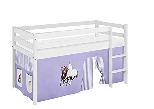 Lilokids Spielbett Jelle Pferde, Hochbett mit Vorhang Kinderbett, Holz, lila/beige, 208 x 98 x 113 cm (Mit Vorhang Hochbett)