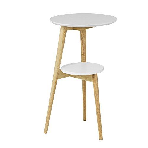 SoBuy® FBT39-W Table d'Appoint Design Table Basse Table café Ronde - 2 plateaux - 3 pieds
