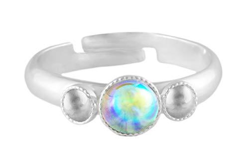 Rings 925 Silber Plattiert Minimalistischen Verstellbare Universalgröße Trio oOo Runde Tschechische Glas Stein Kristall Aurora Borealis Handgemachte BohemStyle