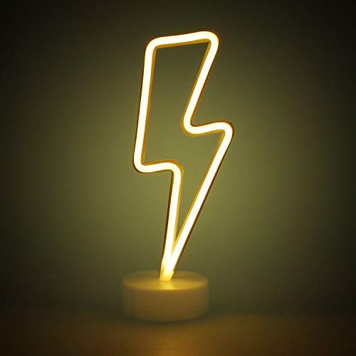 AIZESI Blitz Leuchtreklamen mit Halter Basis Für Home Party Geburtstag Schlafzimmer Nachttisch Dekoration Kinder Kinder Geschenke (Lightning WarmWhite mit halter)