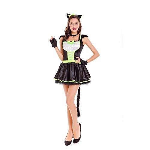 Fashion-Cos1 Cat Womens Black Witch Dämon Magie Halloween Cosplay Kostüm Für Frauen Sexy Kleid Nachtclub Uniform Kostüm