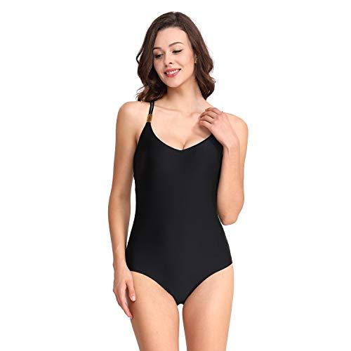 Aijolen Frauen Einfarbig Bauchkontrolle EIN Stück Schwimmen Kostüm Siamesische Kreuz Strand Badeanzug,B,S