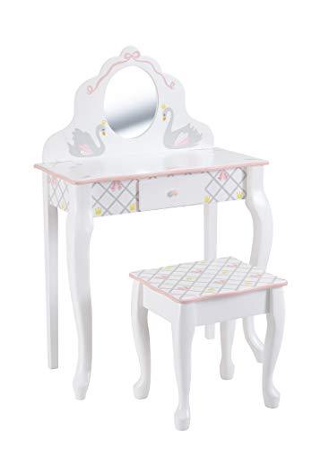 Fantasy Fields Swan Lake Ballerina Vanity Table & Hocker Set | Handgefertigte und handbemalte Kindermöbel aus Holz -
