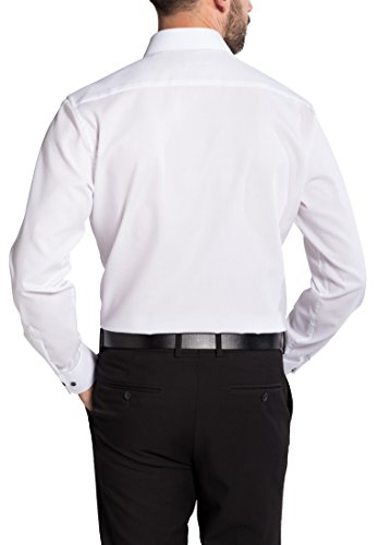 Eterna Long Sleeve Shirt Modern Fit Fantasy Stretch Structured Bianco