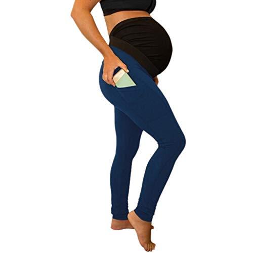 Mutterschaft Stretch Hose (WUSIKY Umstandshose Damen Mutterschaft Leggings Nahtlose Yogahosen Stretch Schwangerschaftshose Lose Lange Umstandsleggings Elegante Casual Mode Hosen 2019 Neuer Umstandsmode(Dunkelblau,XXL))