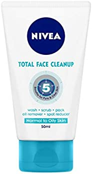 NIVEA Women Face Wash, Total Face Cleanup, acts as Face Wash, Face Scrub & Face Pack, 10