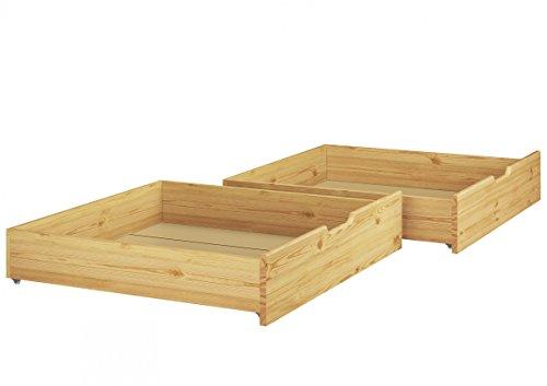 Erst-Holz Bettkasten für unsere Etagenbetten - 2-teilig - Kiefer Natur - 90.10-S2