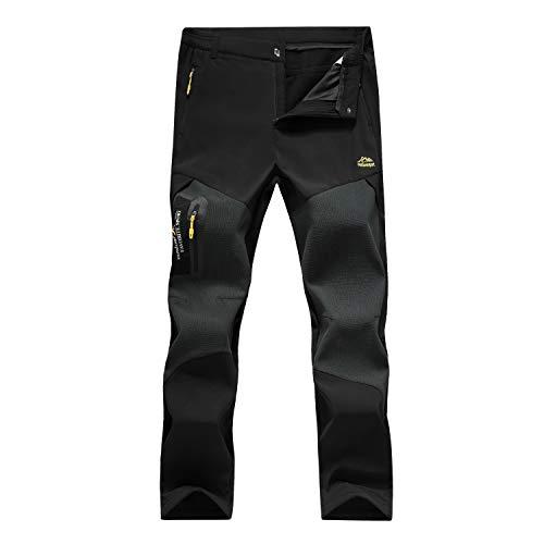 7VSTOHS Pantaloni da Trekking Invernali Pile Polare Impermeabili da Uomo Pantaloni da Trekking Guscio Morbido Antivento Pantaloni Sportivi Casuali