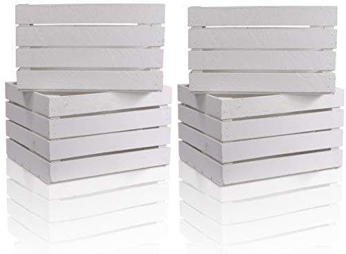 CHICCIE 4 Set Holzkiste im weißen Vintage Look - 50x40x30cm Weiß - Obstkiste Weinkiste