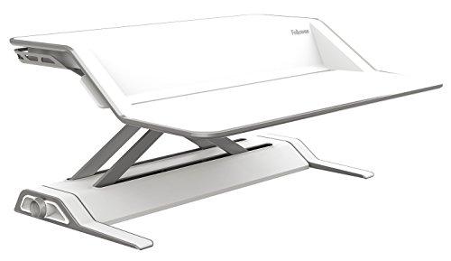 Image of Fellowes 0009901 Sitz-Steh Desktop Workstation regt zu mehr Bewegung bei der Schreibtischarbeit an mit 22 Höheneinstellungen, Ständer, weiß