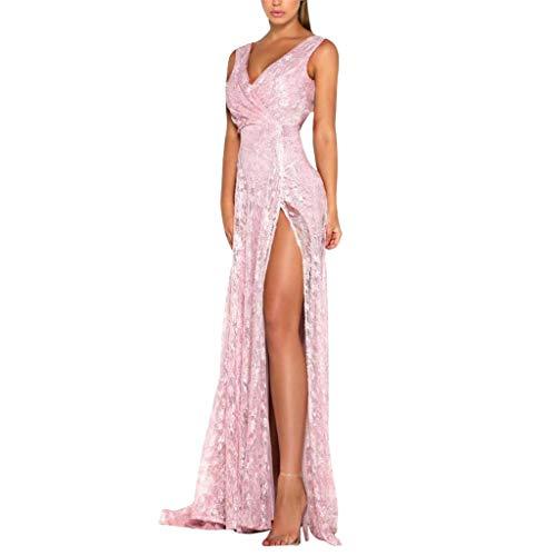 Kleider Damen,SANFASHION Frauen Sexy Tiefem V-Ausschnitt Sommer Strandkleid ärmelloses Splits...