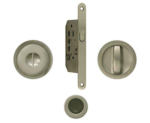 Kit Bonaiti serratura con nottolino Foro mm 50 Quadro mm 8 conchiglia circolare Diametro mm 48 (CROMO SATINATO)