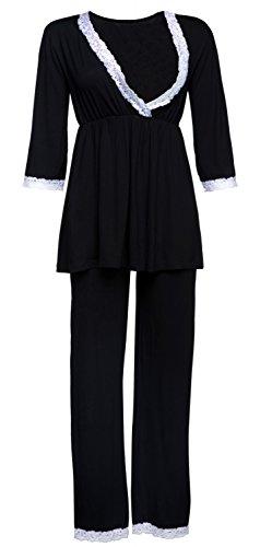 Happy mama. premaman vestaglia/camicia notte/pigiama venduti separatamente. 591p (nero, it 40, s)