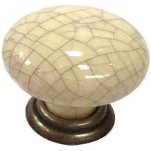 Winchester Poignée De Porte En Porcelaine Craquelée Finition Ancienne Crème
