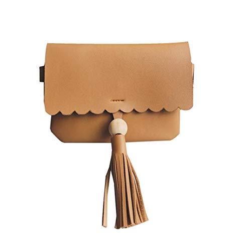 EdBerk74 Quasten Dekoration Frau Kleine Flap Bag Lady Girls Crossbody Bag PU Leder Schultertasche Kleine Handtaschen Verstellbarer Riemen -