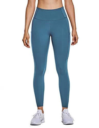 CRZ YOGA Mujer Naked Feeling Leggings Deportivas Cintura Alta Yoga Fitness Pantalones Con Bolsillo Azul carbono New2 XXS(34)