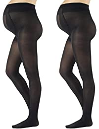 2 PAIRES COLLANT DE MATERNITE OPAQUE | COLLANTS POUR FUTURES MERES CONFORTABLE ET ELASTIQUES | COLLANT DE GROSSESSE MI-SAISON | 40 DEN | NOIR | NERO | S M L XL | MADE IN ITALY