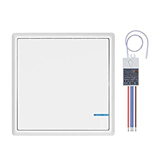 Lumiwell Wireless Light Switch with Receiver Kit Outdoor 1900 ft Indoors 229 ft - Remote Switch Push Button Switch 1 gang 1 button 1 way Ceiling Lamp LED Bulb - IP54 Dampproof (White Switch with 1 Receiver)