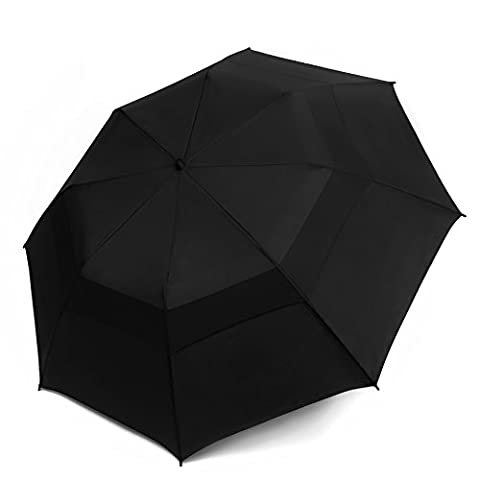 EEZ-Y Folding Golf Umbrella 58-inch Extra Large Windproof Double Canopy - Auto Open Sturdy Compact and Portable (Black)