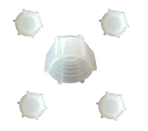 Kartuschenverschlusskappe 5 STÜCK Verschlusskappe für Kartuschen, Kartuschenverschluss mit Grobgewinde Schraubkappe Silikon Kartusche wiederverwenden und sicher verschließen Kartusche zumachen -