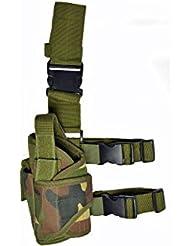Unas zie Holster en varios colores de alta calidad para izquierda y derecha Pistola para pierna con cinturón de piernas y fijación, Camo Del Arbolado, izquierda