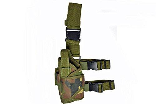 Hochwertiger Pistolenbeinholster, woodland Für das linke Bein mit einer Gürtel- und Beinbefestigung (Pistolenbeinholster Mit Gürtel)