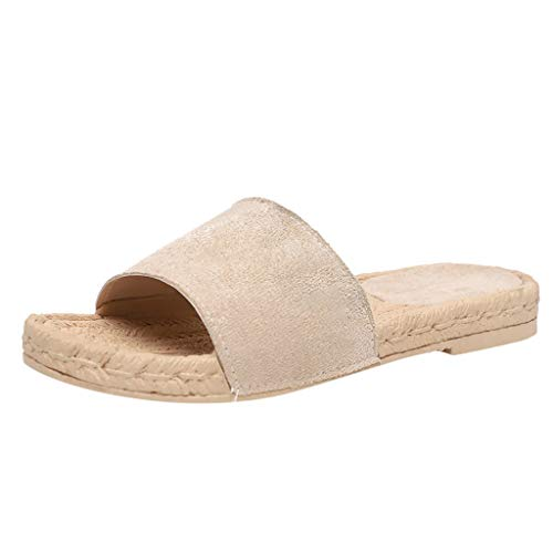 aef4307810 Tohole Frauen Peep Toe Flatform Sandalen Plateau Schuhe Schlappen Sommer  Flache Espadrille Sandaletten Wildleder Strand Hausschuhe
