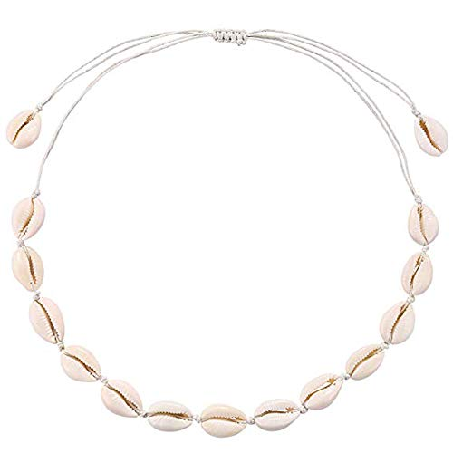 Alexsix Cowrie Shell Necklace Handmade Adjustable Seashell Choker Summer Jewelry for Women Girls -