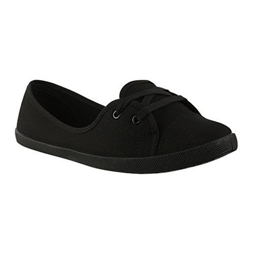 Elara Damen Ballerinas | Bequeme Sneaker Slipper | Schnürer Halbschuhe | sportlich Flats | Chunkyrayan 3955A Black-36