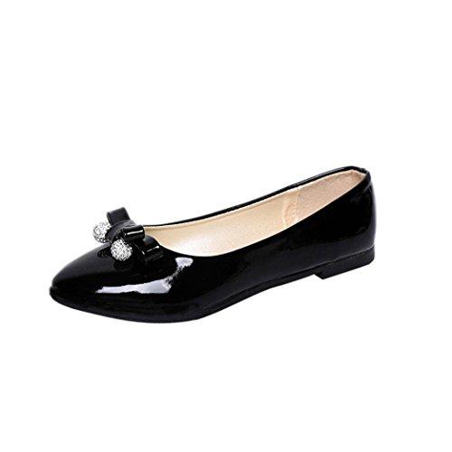 FEITONG Damen Ballerinas Pumps | Bequeme Slip-Ons | Runden-Zehe Bowknot Flache Schuhe | Freizeit Schuhe (EU:39, Schwarz) (Lack Niedrigen Ferse Schwarz Spitz)