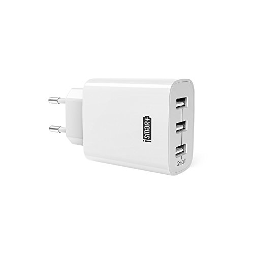 Chargeur USB Secteur 3 Ports Universel Secteur Mural RAVPower 30W / 5V 6A max avec Technologie de Charge iSmart, Adaptateur Secteur USB pour iOS, Android, Appareils Portable Windows, etc. - Blanc