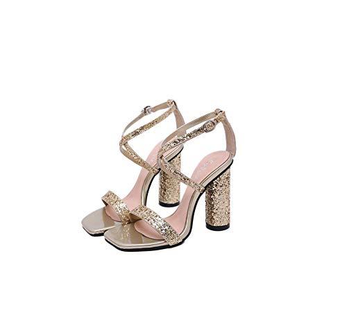 GHFJDO Damen Ankle Buckle Strappy Sandalen, Damen öffnen Toe Mid Block Heels, Frauen Casual Dress Sandal,Metallic,36EU -