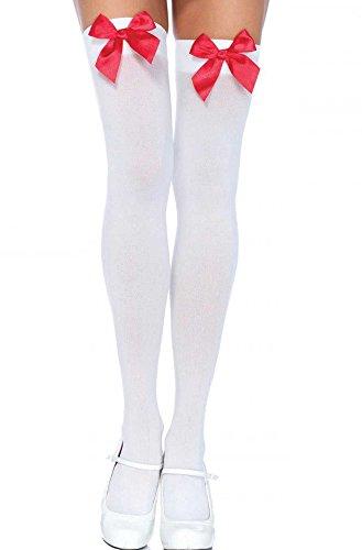 18MM Cosplay Strümpfe Overknee Kniestrümpfe Zofe Gothic Maid (Weiß/Rot)