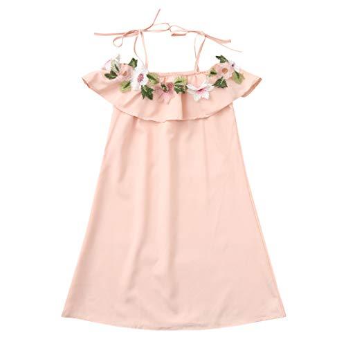 DQANIU ❤️❤️ Mama Tochter Frauen Blume Schulterfrei Kleid Dame Familie Passende Kleidung, Kleinkind Baby Kinder Mädchen Floral Riemen Kleid Outfits Familie Kleidung (Vater-tochter-armband-charms)