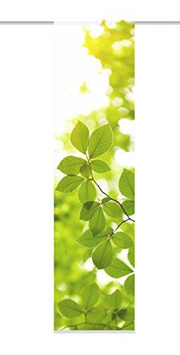 Home Fashion 87505-768-Estor con impresión Digital Leaf, Tela Decorativa (245x 60cm, imitación de Seda, Color Verde