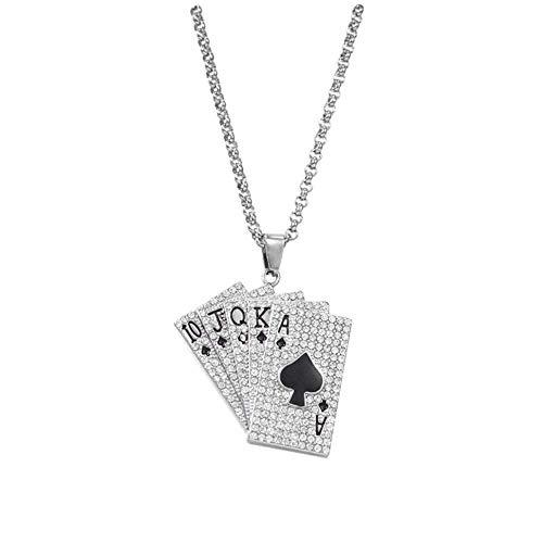 YZXJ Hip-Hop Hipster Full Diamond Playing Card Necklace Men Titan Steel Hip-Hop Flush Pendant Long Accessory