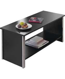 Coffee Table Black Chrome Trim Shelf Blackpool Living Room Furniture