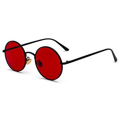 Inlefen Sonnenbrille Männer Frauen Runde Retro Vintage Kreis Stil Sonnenbrille Farbige Metallrahmen Brillen Schwarz Rot