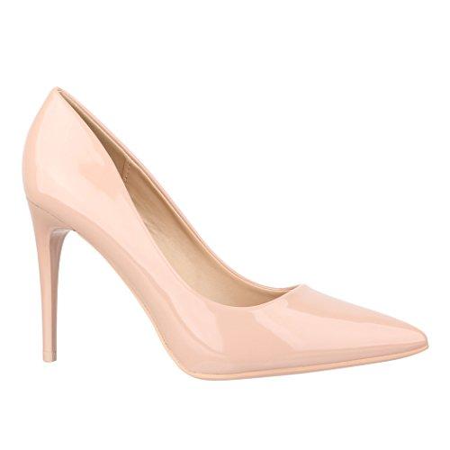 Elara Damen Pumps Spitz | Moderne High Heels | Bequeme Lack Stilettos | Chunkyrayan C-12 Beige-40