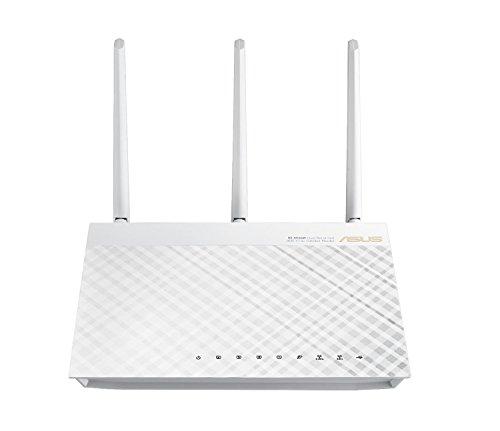 Asus RT-AC66U AC1750 Diamond Dual-Band Power WLAN Router (802.11 ac, Gigabit LAN/WAN, USB 2.0, Print FTP VPN Server, IPv6, 8x SSID, AiRadar) weiß