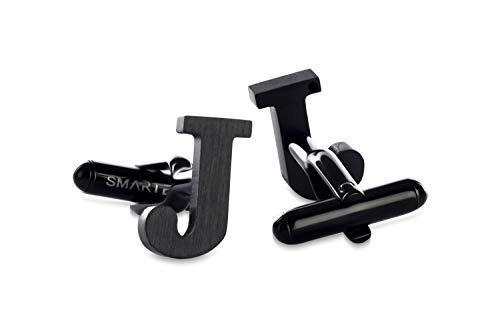 SMARTEON® Manschettenknöpfe für Herren   Premium Buchstaben A-Z   Silber & Schwarz aus hochwertigem Edelstahl in mattem Design   Elegante Cufflinks in einem edlen Geschenk-Set (J - schwarz)
