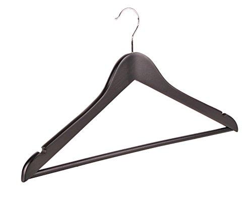 10 Holz Kleiderbügel Schwarz Kleidung mit Kerben und Bar für (Winkel Dunkle Kostüme)