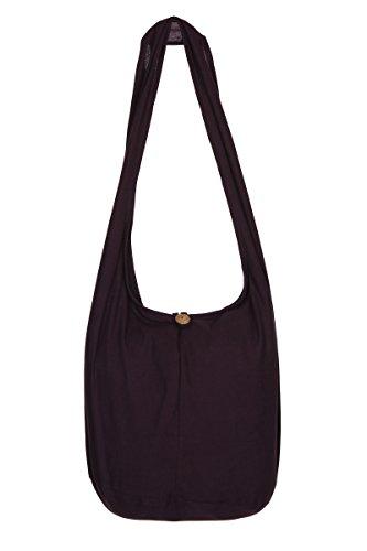 ThaiUK Damen Hippie-Tasche mit Schulterriemen, Boho-Stil, 100 % Baumwolle Violett - Dark Purple