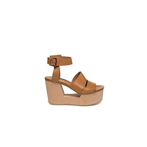 Vic Matie' - Sandalo Color Cuoio su Zeppa Forata Legno - 1Q5526DQ76CQQB119-38