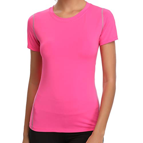 Joyshaper Sport T-Shirt Damen Shortsleeve Top Kurzarm Oberteile für Joggen, Fitness, Yoga oder Alltägliche Bekleidung, Rosa, XXL
