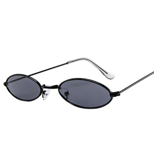 Huhu833 Mode Unisex Retro kleine ovale Sonnenbrille Metallrahmen Shades Eyewear Reise Sonnenbrille (Schwarz)