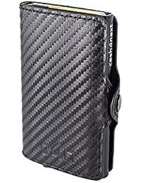 Cash4next - Portatarjetas de crédito para Hombre y Mujer, portadocumentos, Ideas de Regalo, Bloqueo RFID, anticlonación, blindado, Fibra de Carbono, Aluminio Fino, Ligero