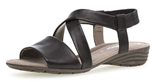 Gabor 24.550 Damen Sandalen,Keilsandalen, Frauen,Keilabsatz-Sandaletten,Keilsandaletten,Sommerschuh,flach,Best Fitting,Übergrößen,schwarz,7 UK -