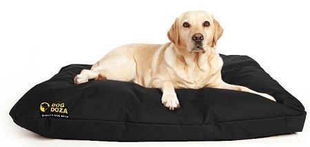 Dog Doza Waterproof PU Coated Dog Bed with Cushion, Black 1